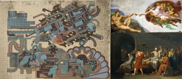 Sir Eduardo Paolozzi + Michelangelo di Lodovico Buonarroti Simoni + Jacques-Louis David