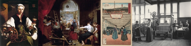 Maarten van Heemskerck + Diego Rodríguez de Silva y Velázquez + Anon (The Diligence of Women Workers at the Tomioka Spinning Mill) + Frances Benjamin Johnston