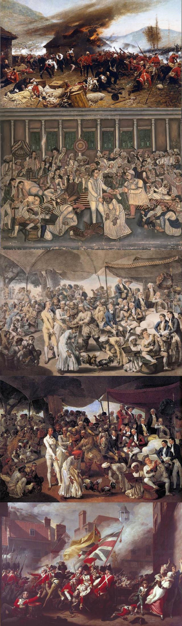 Alphonse de Neuville + Anon (1850 India) + Richard Earlom + John Zoffany + John Singleton Copley