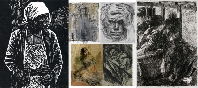 Elizabeth Catlett Mora + Alberto Giacometti + Käthe Kollwitz + Anders Zorn + Leon Kossoff + Rodney J. Burn