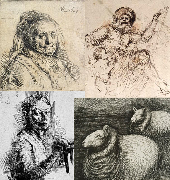Rembrandt Harmenszoon van Rijn + Guercino + Henry Moore + Käthe Kollwitz